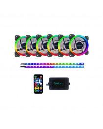 APEVIA SP612L2S-RGB 6 FAN + 2 Color Changing Magnetic LED Strips